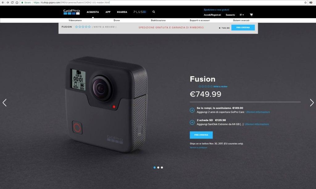 GoPro Fusion Prezzo e Data di Uscita