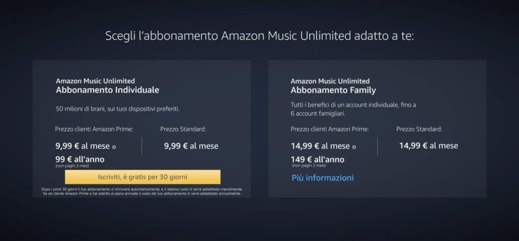 Amazon Music Unlimited Prezzi