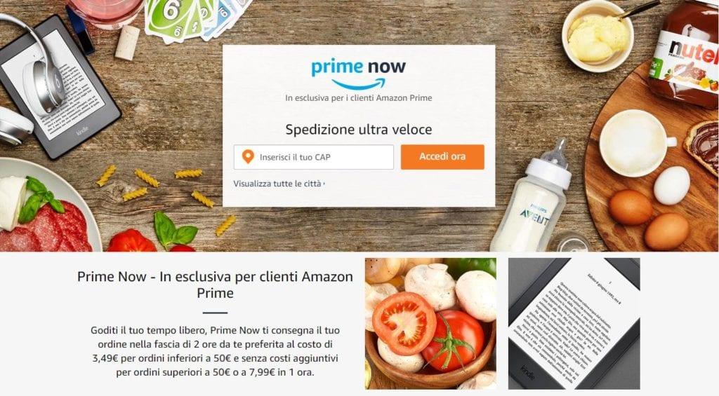 Amazon Prime Now Napoli dietro l'angolo