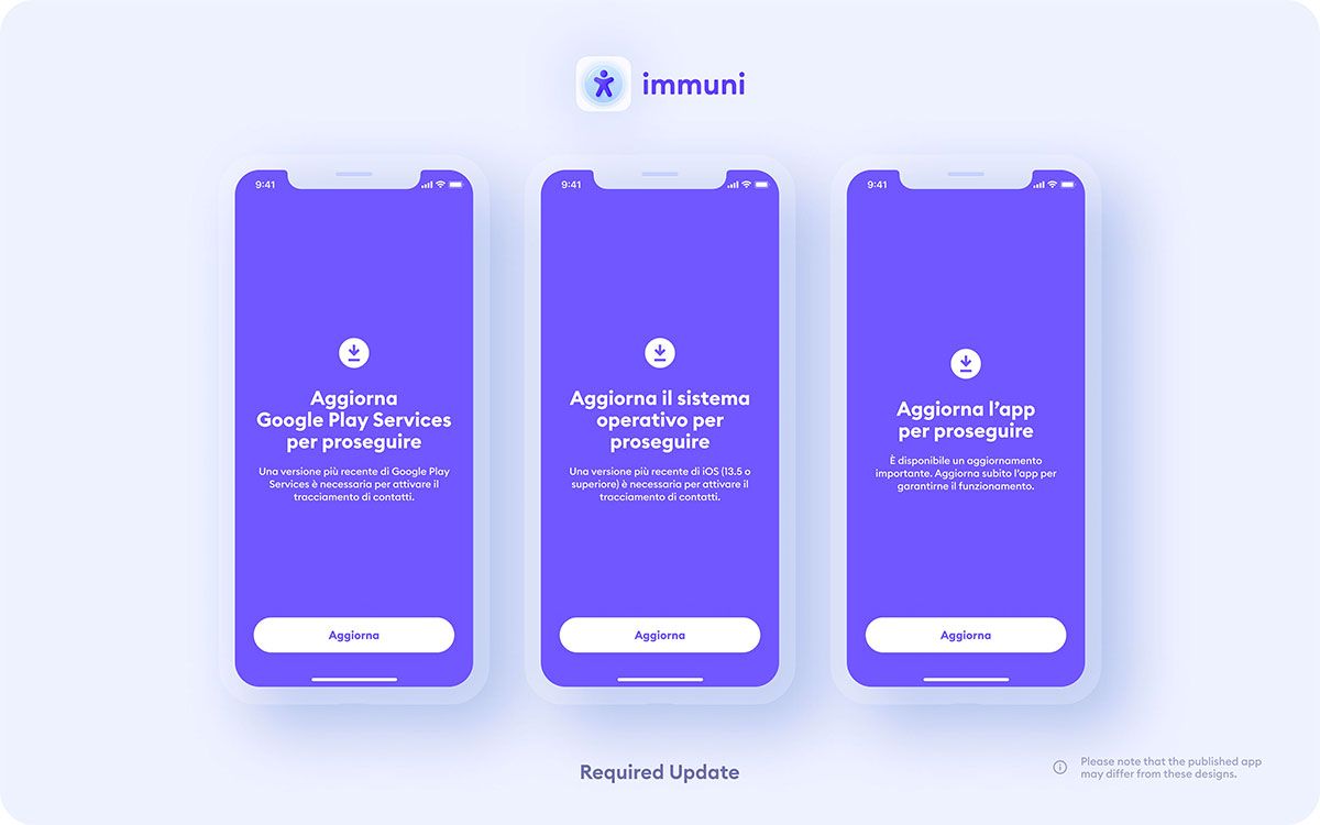 Immuni App Schermata Aggiornamento Play Services-iOS