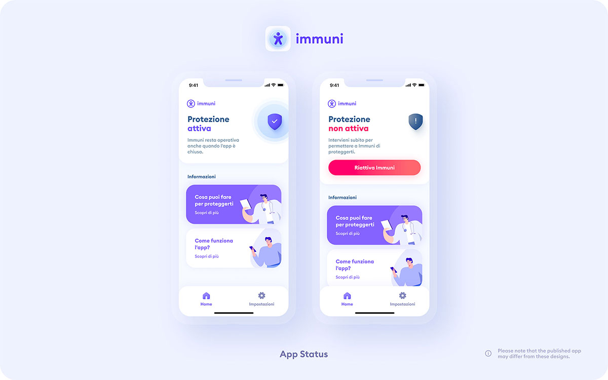 Immuni App Status Protezione Schermata
