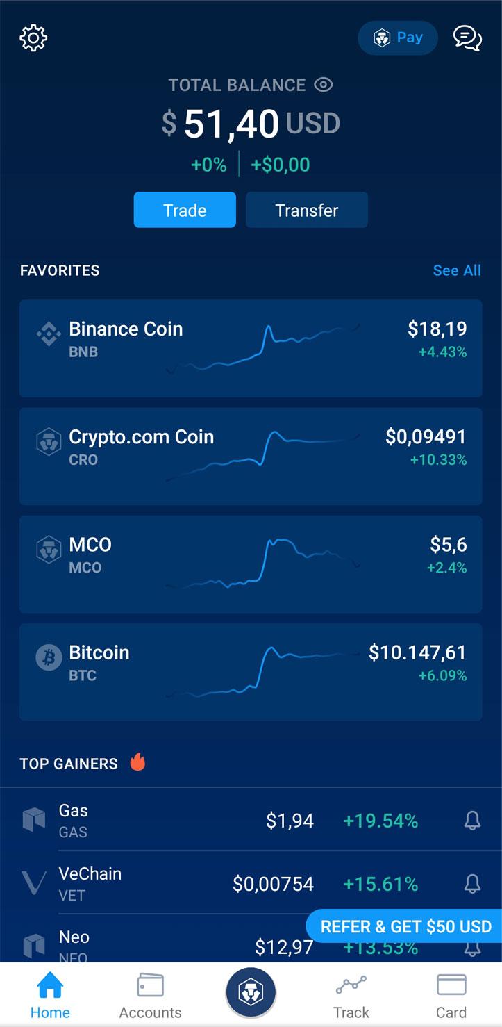 App Crypto.com Bonus 50$ Schermata