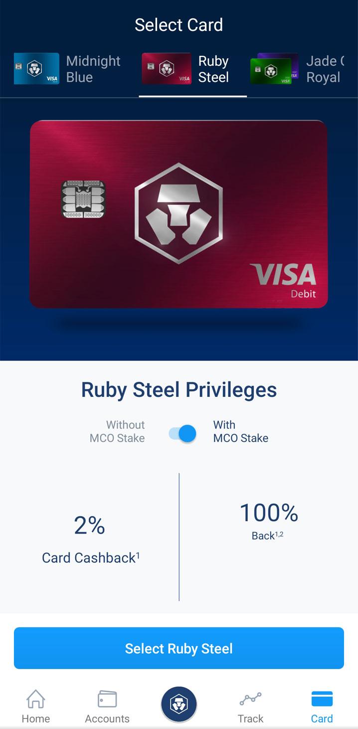 Carta Crypto.com Ruby Steel Schermata App