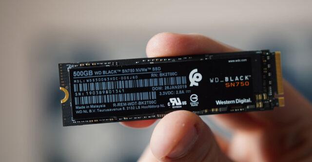 WD Black SN750 SSD NVMe Dettaglio
