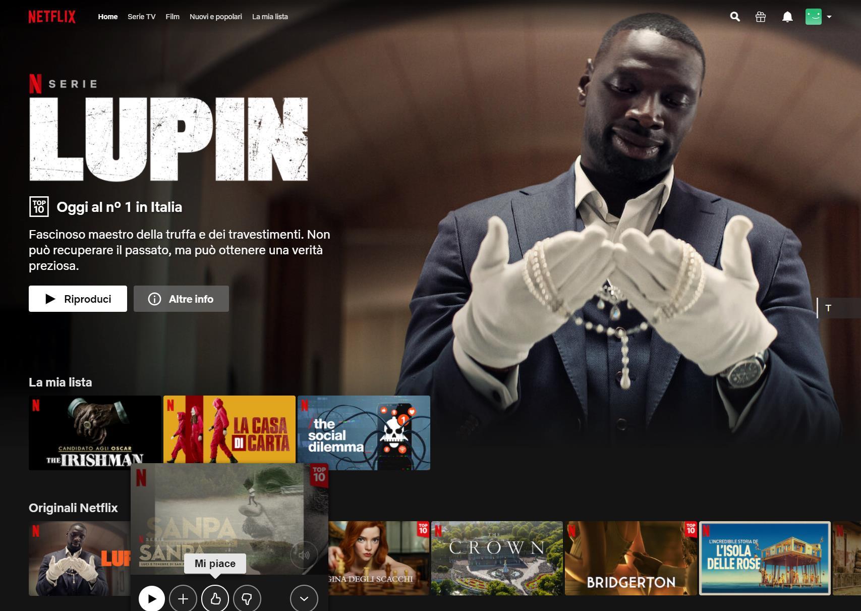 Netflix Gratis 4K HDR Schermata Iniziale Lupin