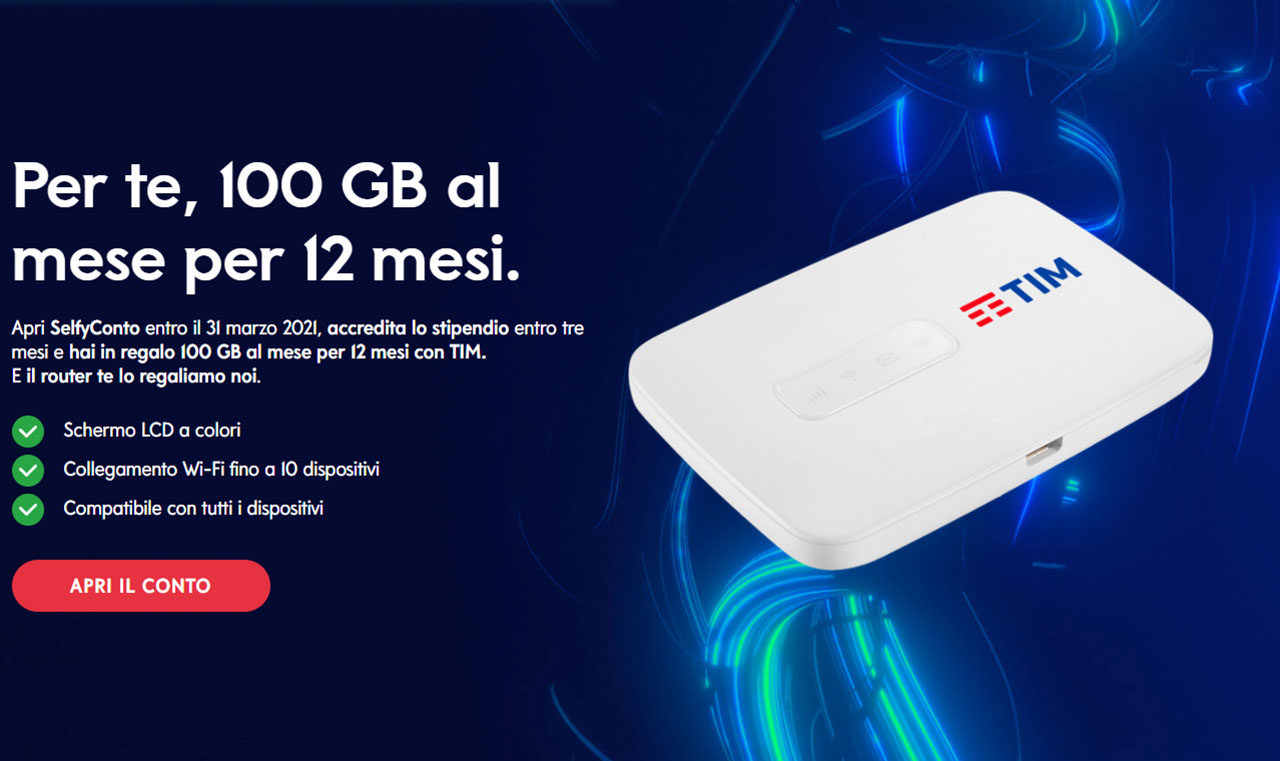 Conto Selfy 100GB Tim Router Bonus Banca Mediolanum