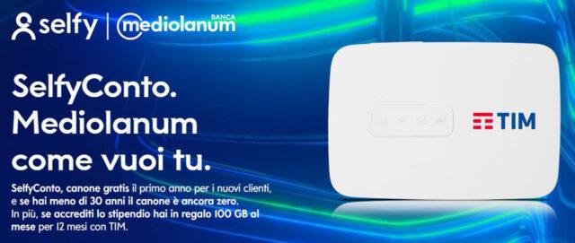 Conto Selfy Promo 100GB Tim Router Banca Mediolanum