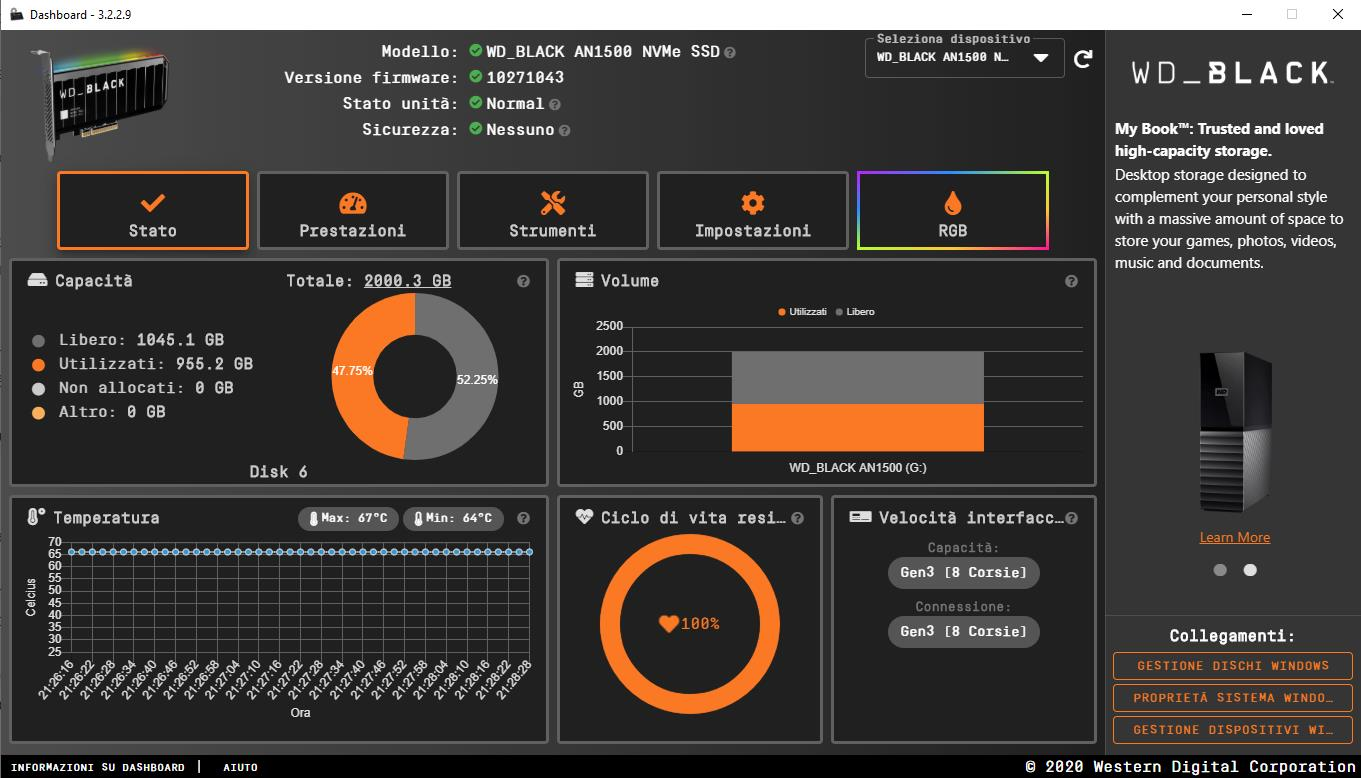 WD Black AN1500 Software Dashboard Schermata Principale
