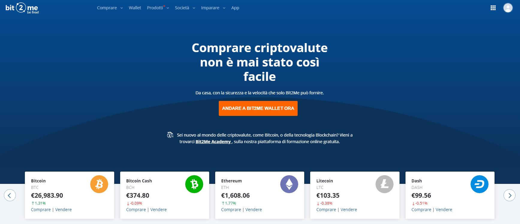 Bit2Me Pagina Iniziale Wallet
